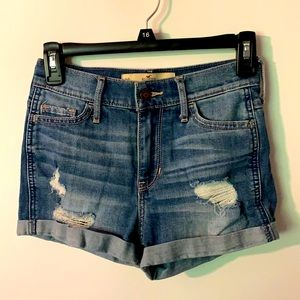 Hollister Jean Shorts, Distressed, Cuffed, Size 00